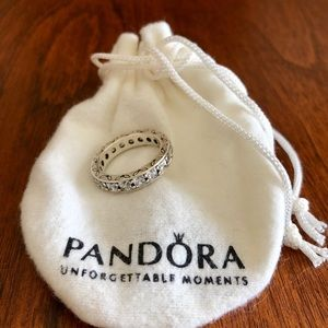 Pandora Sterling Silver Band Ring in Clear CZs